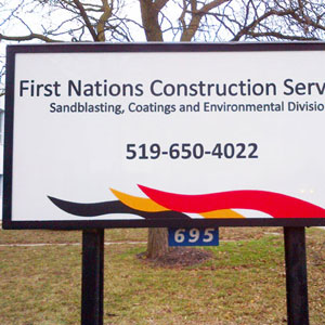 First Nations Construction Outdoor Sign